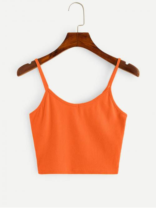 Casual Cami Plain Regular Fit Spaghetti Strap Orange and Bright Crop Length Neon Orange Crop Cami Top