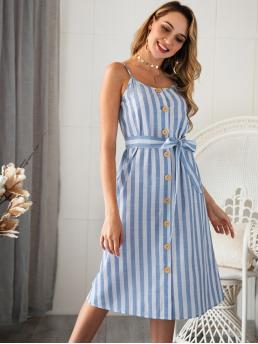 Boho Cami Striped Loose Spaghetti Strap Sleeveless High Waist Blue Long Length Button Through Striped Belted Cami Dress with Belt