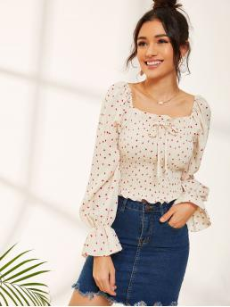 Boho Heart Top Slim Fit Square Neck Long Sleeve Pullovers Beige Crop Length Flounce Sleeve Heart Print Shirred Top