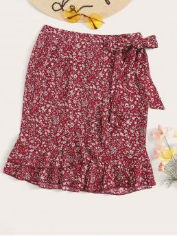 Boho Wrap Ditsy Floral Mid Waist Red Above Knee/Short Length Ditsy Floral Print Ruffle Trim Knot Side Wrap Skirt