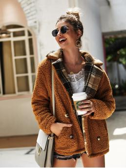 Casual Other Plaid Regular Fit Collar Long Sleeve Brown Regular Length Teddy Double Breasted Outerwear