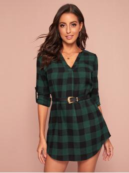 Preppy Tunic Gingham Asymmetrical Regular Fit Notched Long Sleeve Roll Up Sleeve Natural Green Short Length Notched Neck Roll Tab Sleeve Plaid Dress Without Belt