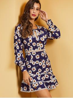 Elegant A Line Floral Layered/Tiered Regular Fit Keyhole Neckline Long Sleeve Bishop Sleeve High Waist Multicolor Short Length SBetro Floral Print Cutout Front Lace Trim Dress