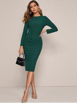 Elegant Bodycon Plain Pencil Slim Fit Round Neck Long Sleeve Regular Sleeve High Waist Green Midi Length Zipper Back Foldover Waist Split Hem Pencil Dress