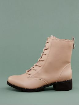 Comfort Combat Boots Almond Toe Plain Side zipper Pink Low Heel Chunky Faux Fur Lined Lace Up Stud Combat Boots