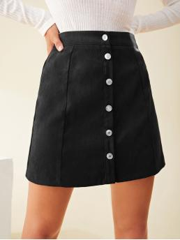Ladies Black High Waist Button Front a Line Solid Skirt