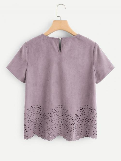 Short Sleeve Top Scallop Suede Laser Cut out Top Cheap