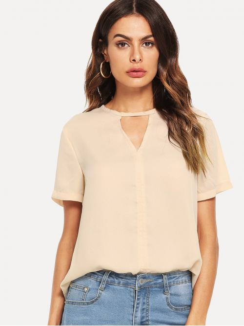 Womens Short Sleeve Top Cut out Mesh V Cut Solid Top