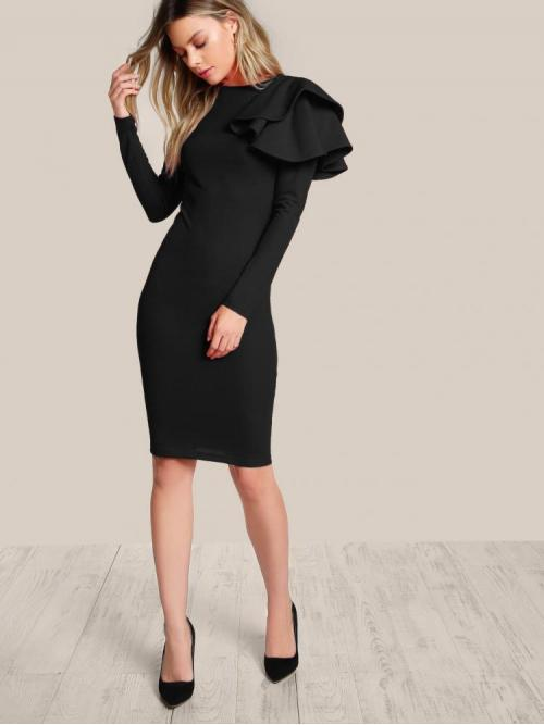 Ladies Black Plain Tiered Layer Round Neck One Side Tiered Ruffle Dress