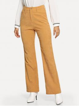 Women's Yellow Natural Waist Pocket Wide Leg Solid Flared Pants