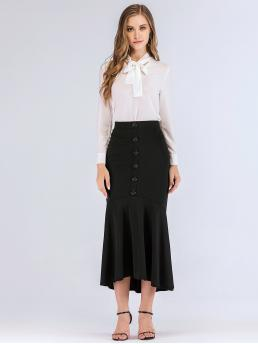 Elegant Mermaid Plain Mid Waist Black Long/Full Length Button Front Flounce Hem Skirt