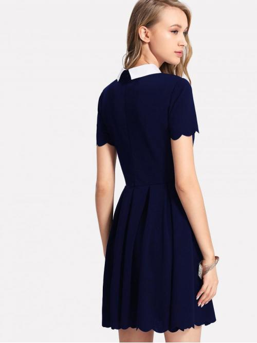 Navy Blue Striped Contrast Collar Collar Contrast Peter Pan Scalloped Dress on Sale
