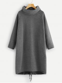 Casual Dress Plain Oversized High Neck Long Sleeve Grey Solid Raglan Sleeve Sweatshirt Dress