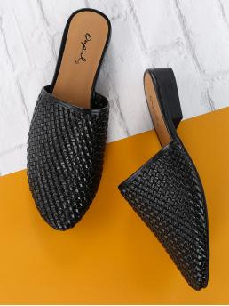 Corduroy Black Mules Embroidery Woven Detail Slide on Low Heel on Sale