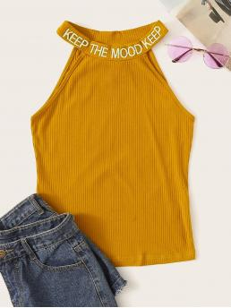 Casual Halter Slim Fit Halter Top Yellow Regular Length Letter Embroidered Rib-knit Halter Top