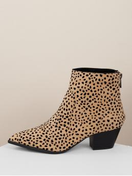 Comfort Other Point Toe Plain Back zipper Multicolor Mid Heel Chunky Pointed Toe Chunky Heel Leopard Ankle Booties