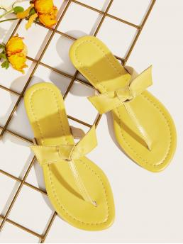 Boho Yellow Toe Post Knotted Detail Sliders