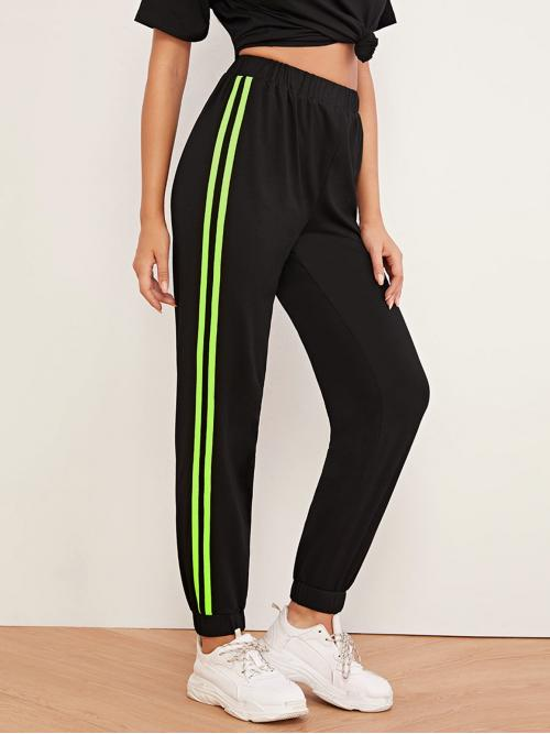 Sporty Striped Sweatpant Regular Elastic Waist Mid Waist Black Long Length Neon Green Side Striped Elastic Waist Sweatpants