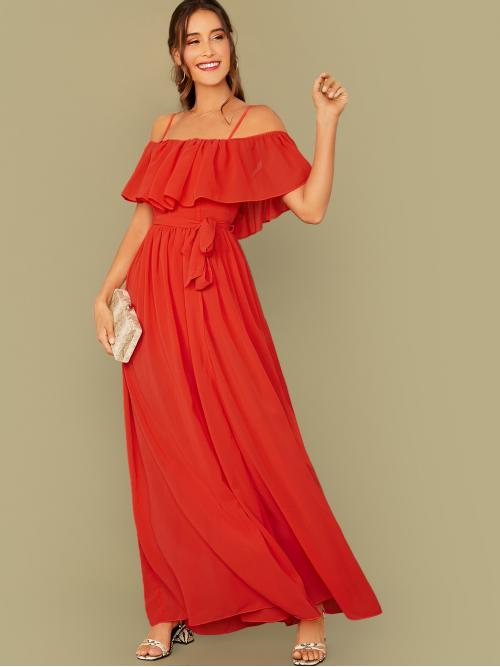 Boho A Line Plain Wrap Regular Fit Spaghetti Strap Short Sleeve Butterfly Sleeve High Waist Red and Bright Maxi Length Flounce Foldover Belted Dress With Wrap Skirt with Belt