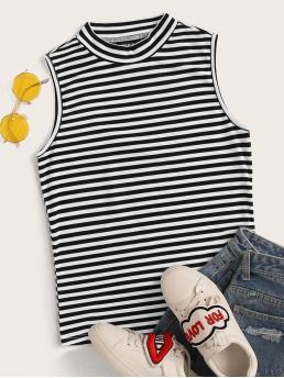 Casual Tank Striped Slim Fit Stand Collar Black and White Regular Length Stand Collar Rib-knit Striped Tank Top
