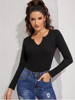 Basics Plain Slim Fit Notched Long Sleeve Regular Sleeve Pullovers Black Regular Length Notched Neck Fitted Tee
