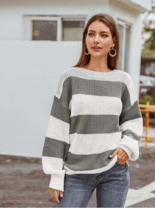 Casual Colorblock Pullovers Regular Fit Boat Neck Long Sleeve Bishop Sleeve Pullovers Multicolor Regular Length Lantern Sleeve Two Tone Striped Sweater