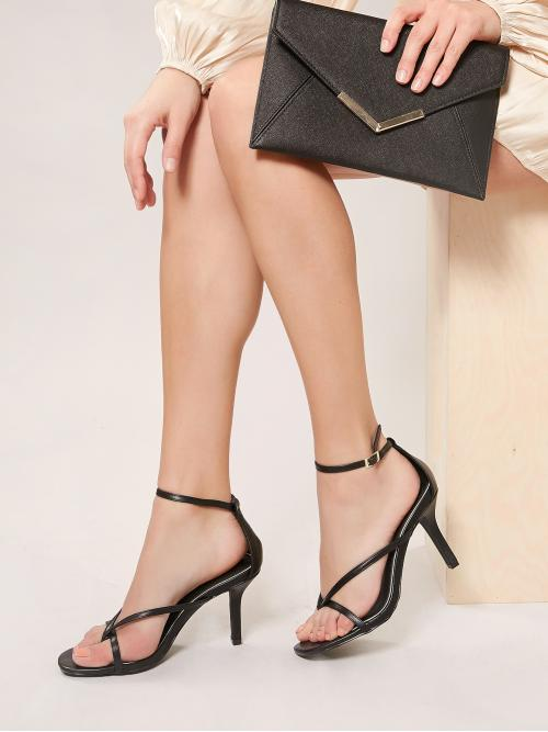 Business Casual Toe Post Plain Ankle Strap Black High Heel Stiletto Buckled Ankle Strappy Kitten Heel Sandals