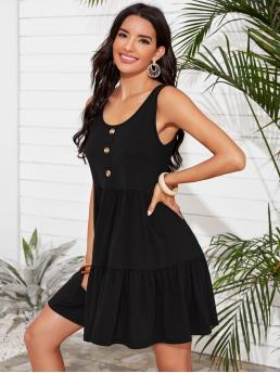 Cute Smock Plain Flounce Regular Fit Round Neck Sleeveless High Waist Black Short Length Half Button Ruffle Hem Smock Dress