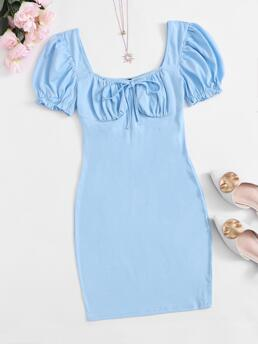 Discount Baby Blue Plain Ruched Bust Square Neck Front Dress