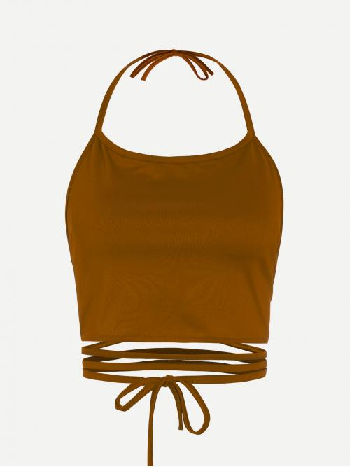 Sexy Cami Plain Slim Fit Halter Top Brown Crop Length Halter Neck Lace Up Cami Top