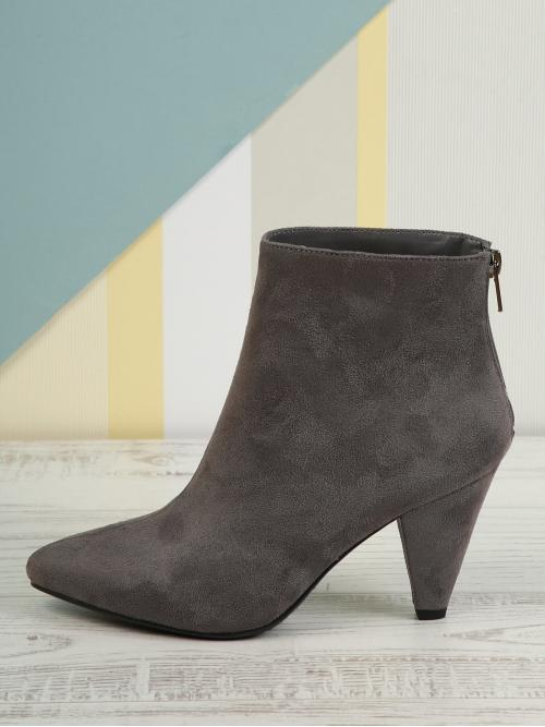 Shopping Corduroy Grey Stretch Boots Buckle Low Cone Heel Pointy Toe Ankle Booties
