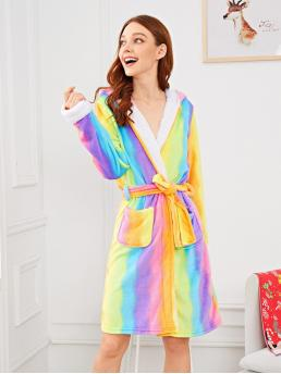 Multicolor Cartoon Pocket Hooded Christmas Rainbow Print Unicorn Robe Affordable