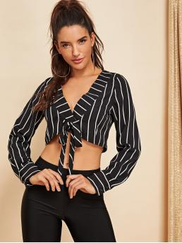 Sexy Striped Regular Fit Long Sleeve Regular Sleeve Black and White Crop Length Knot Front V-Neck Striped Crop Top