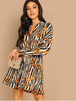 Casual Shirt Striped and Chain Print Straight Loose V neck and Stand Collar Long Sleeve Regular Sleeve Natural Multicolor Short Length Greek Fret & Chain Print Pleated Shirt Dress with Belt