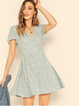 Mint Green Ditsy Floral Button V Neck Front Tea Dress Pretty