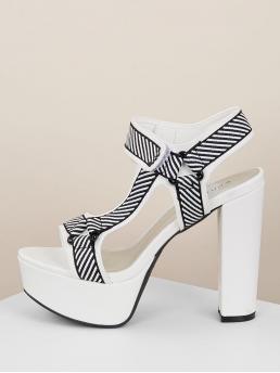 Glamorous Open Toe Striped Platform Ankle Strap Black and White High Heel Chunky Embroidered Stripe Velcro Ankle Platform Heels