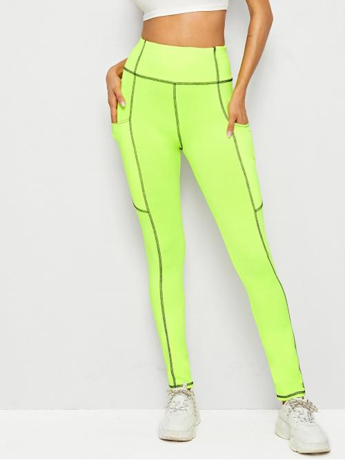 Sporty Regular Green and Bright Long Length Neon Lime Whip Stitch Leggings