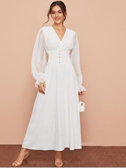 Elegant A Line Plain Flared Regular Fit V neck Long Sleeve Flounce Sleeve High Waist White Maxi Length Pearls Shirred Waist Chiffon Sleeve Dress