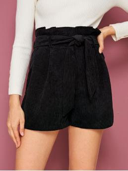 Casual Plain Culottes Regular Elastic Waist High Waist Black Solid Paperbag Waist Belted Corduroy Shorts with Belt