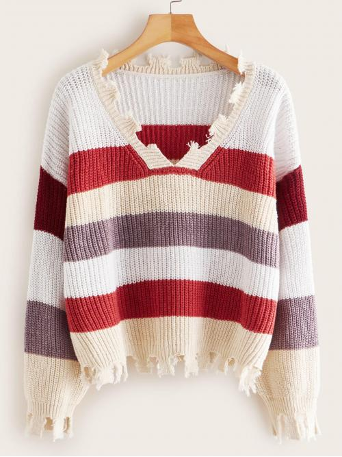 Casual Striped Pullovers Regular Fit V neck Long Sleeve Regular Sleeve Pullovers Multicolor Regular Length Frayed Hem Colourful Stripe Jumper