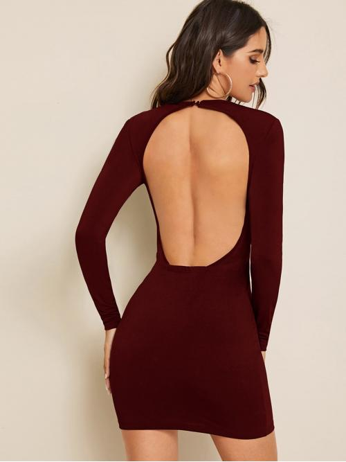 Sexy Bodycon Plain Pencil Slim Fit Round Neck Long Sleeve Regular Sleeve Natural Burgundy Mini Length Open Back Solid Bodycon Dress
