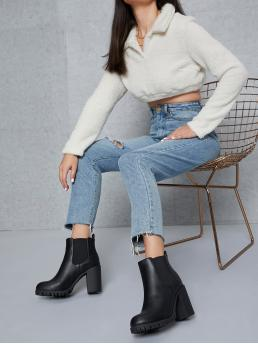 Black Chelsea Boots High Heel Chunky Faux Leather Block Heel Chelsea Boots Discount