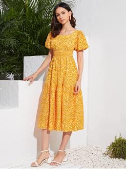 Yellow Ditsy Floral Shirred Sweetheart Detail Dress Fashion