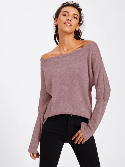 Casual Plain Pullovers Regular Fit Off the Shoulder Long Sleeve Pullovers Purple Regular Length Solid Batwing Sleeve Sweater