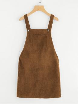 Preppy Pinafore Plain Loose Straps Sleeveless Natural Brown Short Length Pocket Front Overall Corduroy Dress