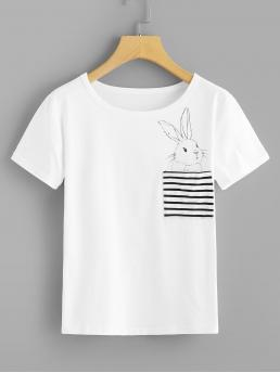 Casual Striped and Animal Regular Fit Round Neck Short Sleeve Pullovers White Regular Length Rabbit Print Striped Pocket Tee