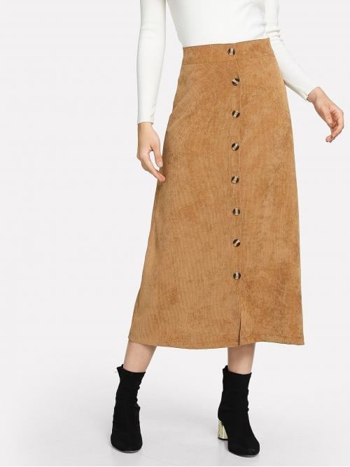 Elegant Slit Plain Mid Waist Khaki Long/Full Length Cord Button Decoration Skirt