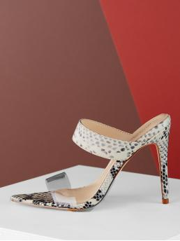 Mules Open Toe Snakeskin Print Black and White High Heel Stiletto Open Pointy Toe Clear Band Stiletto Mule Heels