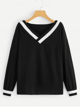 Casual Regular Fit V neck Long Sleeve Pullovers Black Regular Length Drop Shoulder V Neck Tee