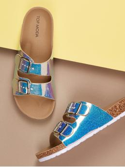 Glamorous Open Toe Blue Glitter Twin Buckle Footbed Slip On Sandals